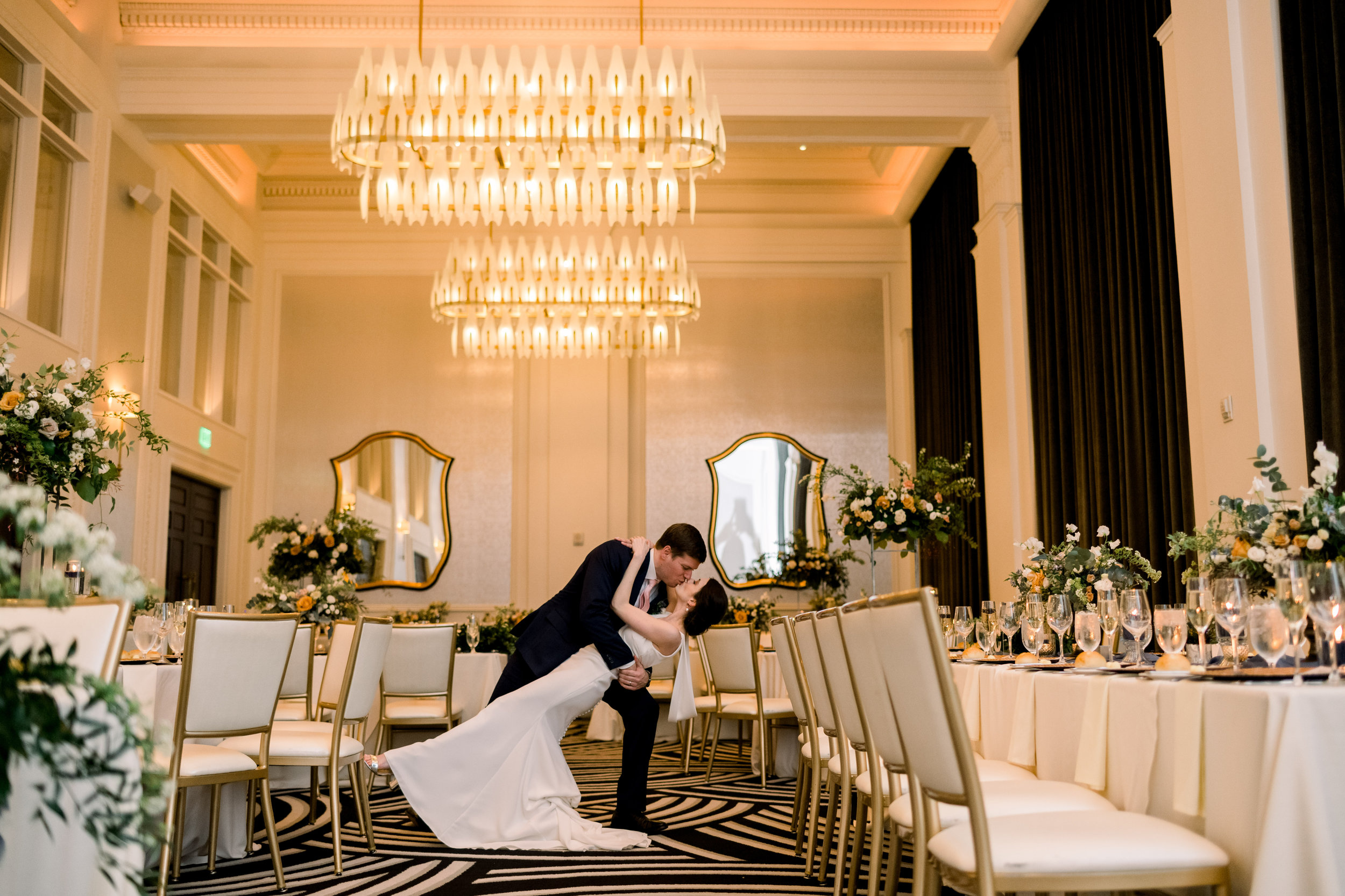 Bride and groom dancing for Pittsburgh wedding at Hotel Monaco planned by Exhale Events. Find more modern wedding ideas at exhale-events.com!