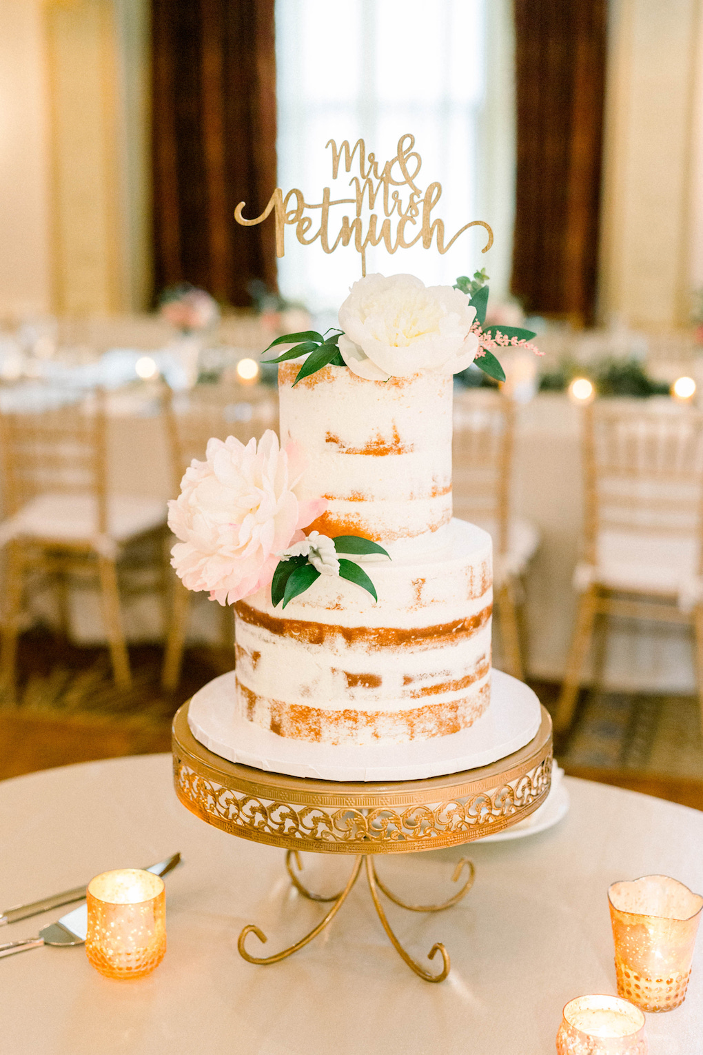 Semi-naked wedding cake: Romantic Fairytale wedding at the Omni William Penn in Pittsburgh, PA planned by Exhale Events. Find more wedding inspiration at exhale-events.com!