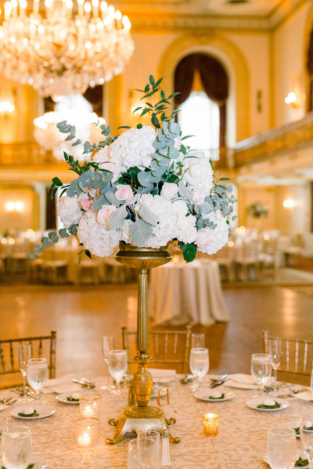 Tall wedding centerpieces: Romantic Fairytale wedding at the Omni William Penn in Pittsburgh, PA planned by Exhale Events. Find more wedding inspiration at exhale-events.com!