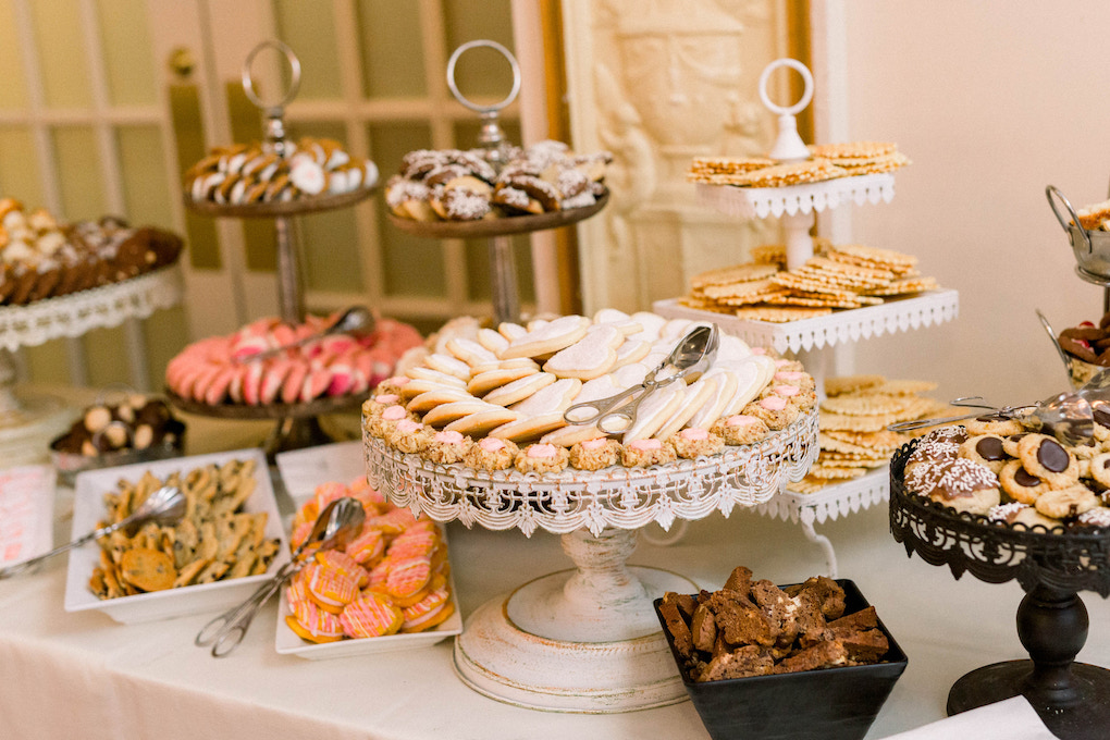 Pittsburgh cookie table: Romantic Fairytale wedding at the Omni William Penn in Pittsburgh, PA planned by Exhale Events. Find more wedding inspiration at exhale-events.com!