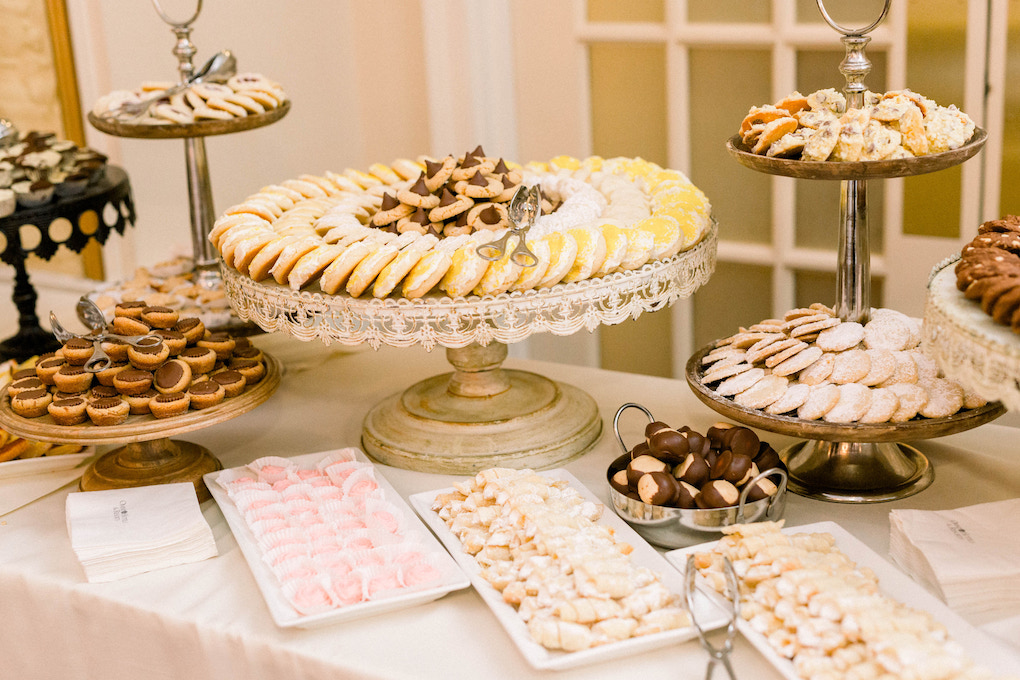 Wedding cookie table: Romantic Fairytale wedding at the Omni William Penn in Pittsburgh, PA planned by Exhale Events. Find more wedding inspiration at exhale-events.com!