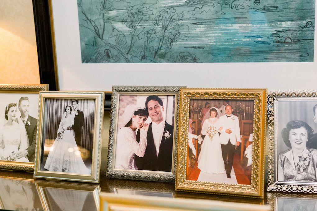 Family memorabilia display: Romantic Fairytale wedding at the Omni William Penn in Pittsburgh, PA planned by Exhale Events. Find more wedding inspiration at exhale-events.com!