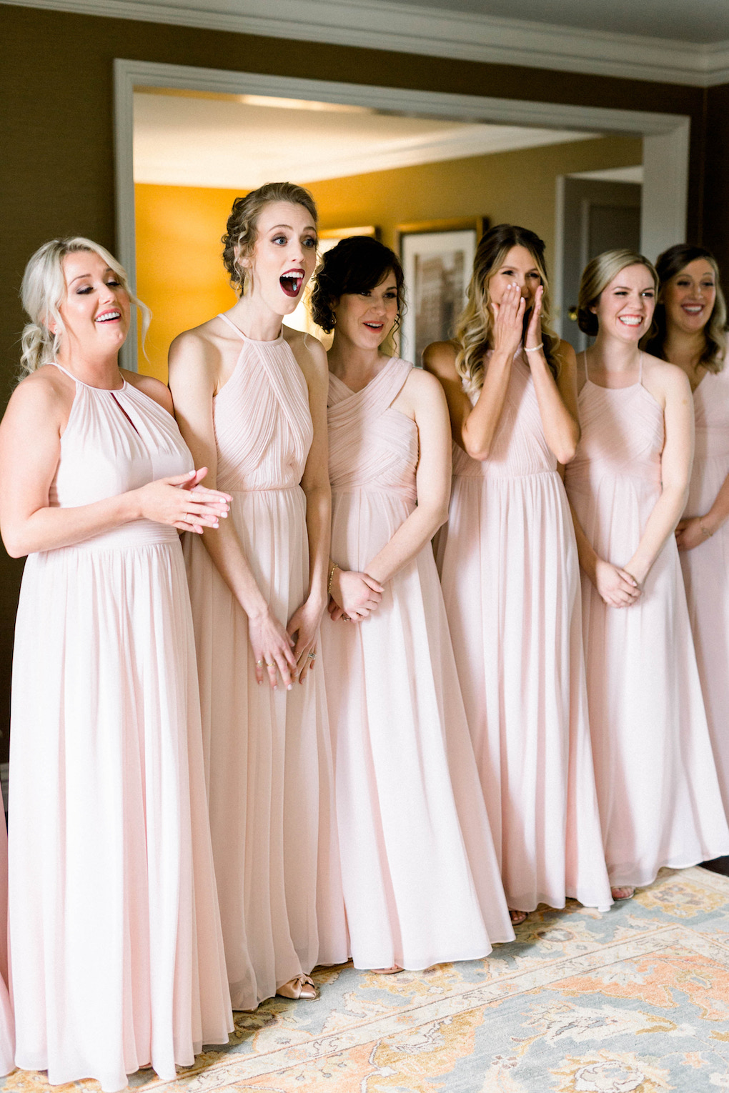 Pink bridesmaids dresses: Romantic Fairytale wedding at the Omni William Penn in Pittsburgh, PA planned by Exhale Events. Find more wedding inspiration at exhale-events.com!