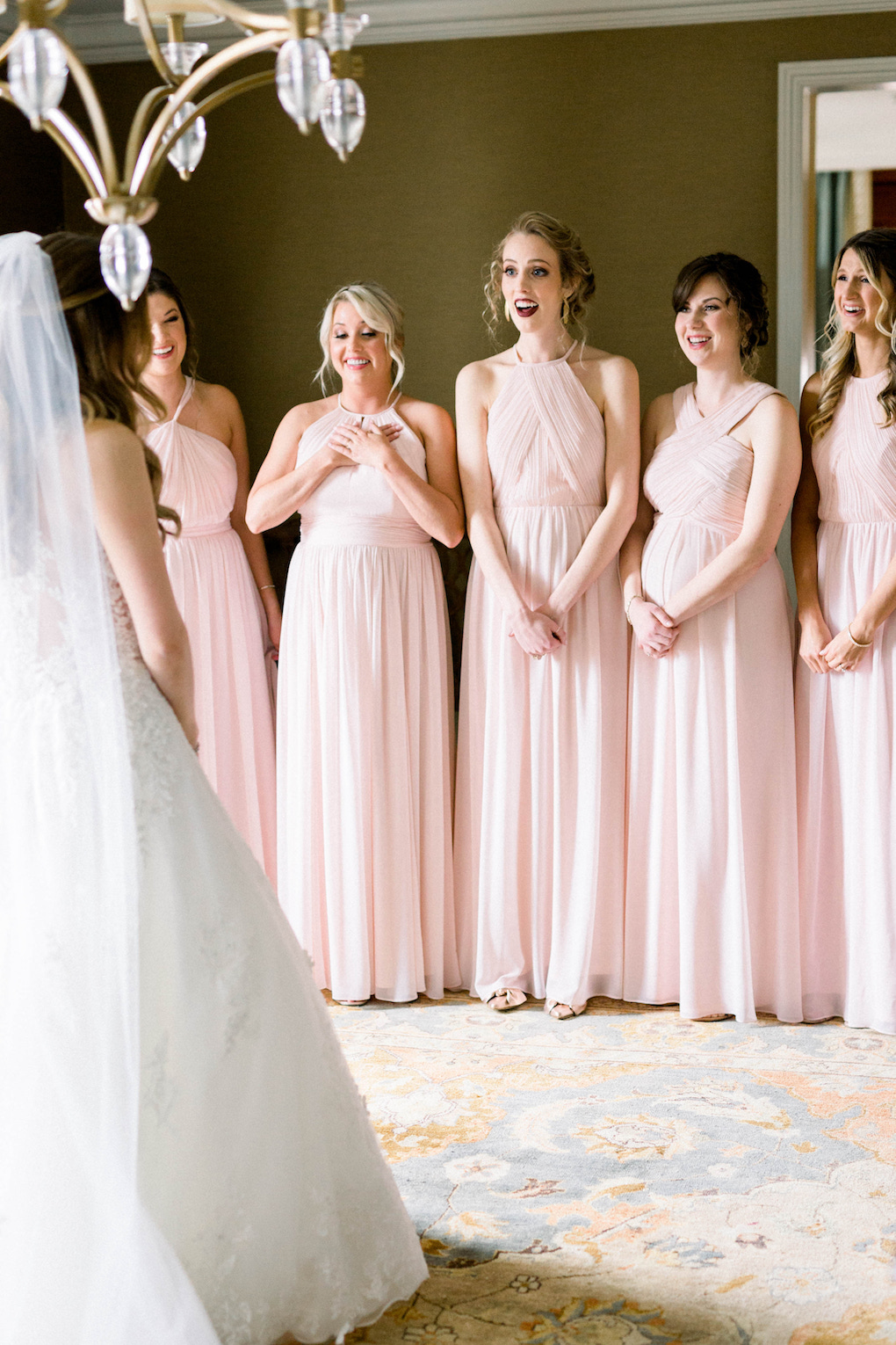 Bridesmaids reaction to wedding dress: Romantic Fairytale wedding at the Omni William Penn in Pittsburgh, PA planned by Exhale Events. Find more wedding inspiration at exhale-events.com!