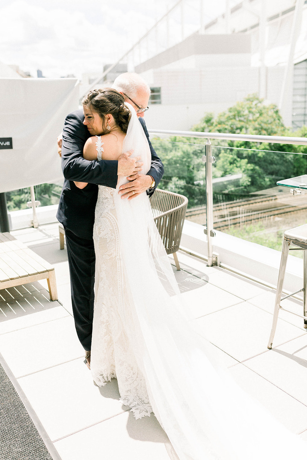 Father Daughter first look on wedding day: Pittsburgh Botanic Garden wedding planned by Exhale Events. See more wedding inspiration at exhale-events.com!