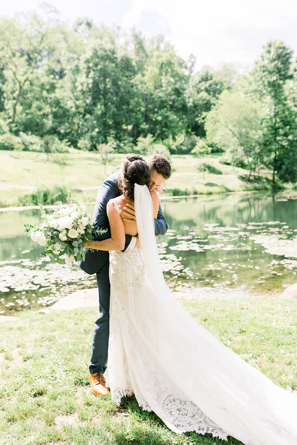 First look with bride and groom: Pittsburgh Botanic Garden wedding planned by Exhale Events. See more wedding inspiration at exhale-events.com!
