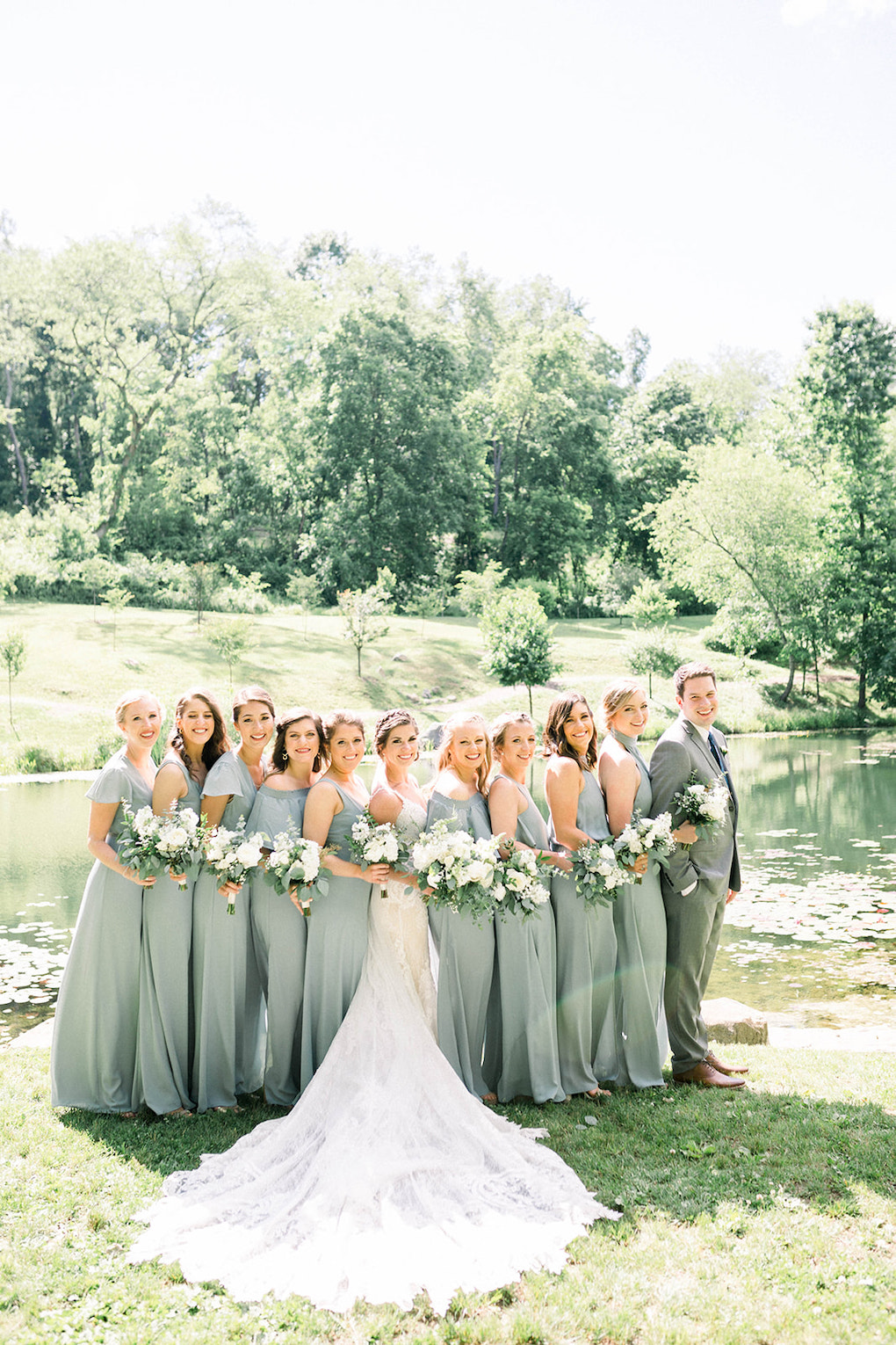 Mist Green Bridal Party: Pittsburgh Botanic Garden wedding planned by Exhale Events. See more wedding inspiration at exhale-events.com!