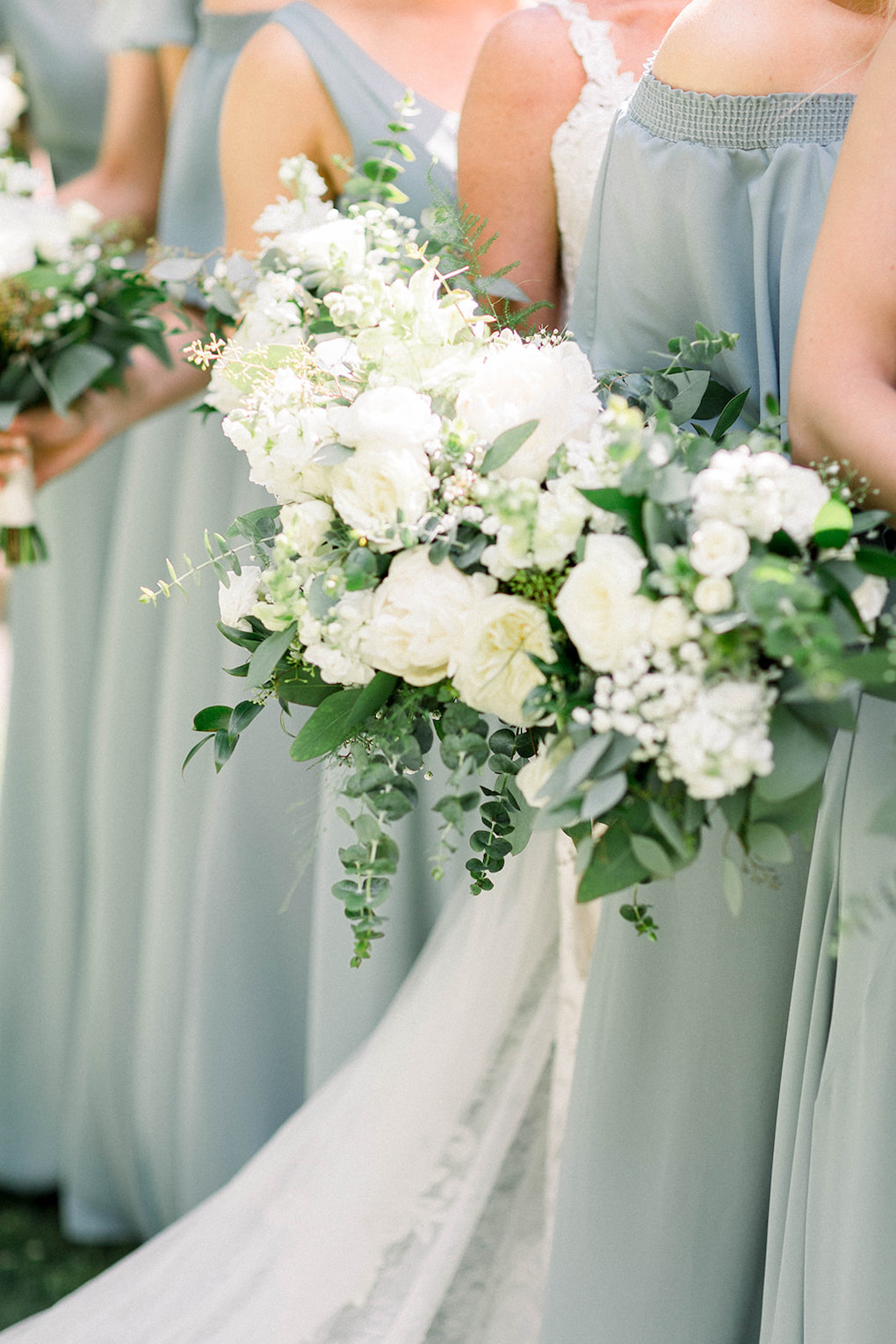 Bridesmaid photos with bouquets: Pittsburgh Botanic Garden wedding planned by Exhale Events. See more wedding inspiration at exhale-events.com!