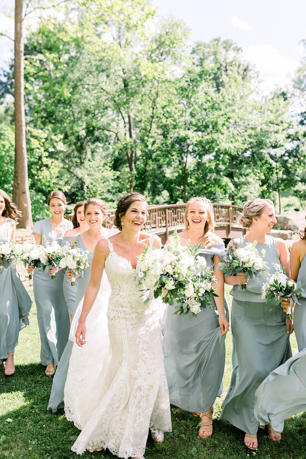 Mist Green Bridesmaids with Bouquets: Pittsburgh Botanic Garden wedding planned by Exhale Events. See more wedding inspiration at exhale-events.com!