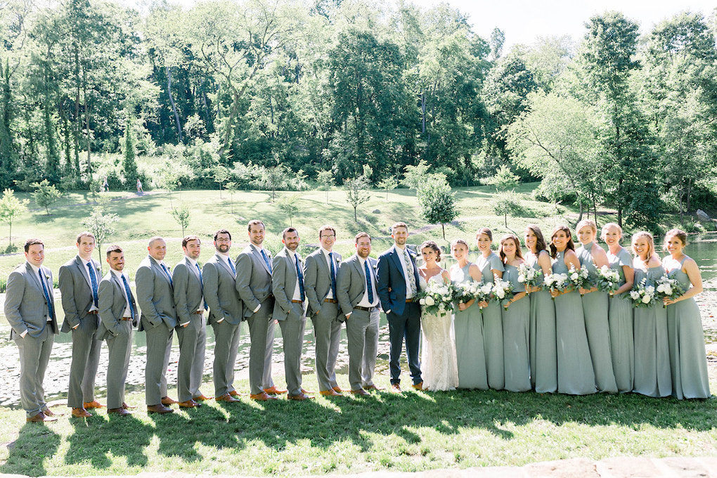 Large Bridal Party Outdoor photos: Pittsburgh Botanic Garden wedding planned by Exhale Events. See more wedding inspiration at exhale-events.com!