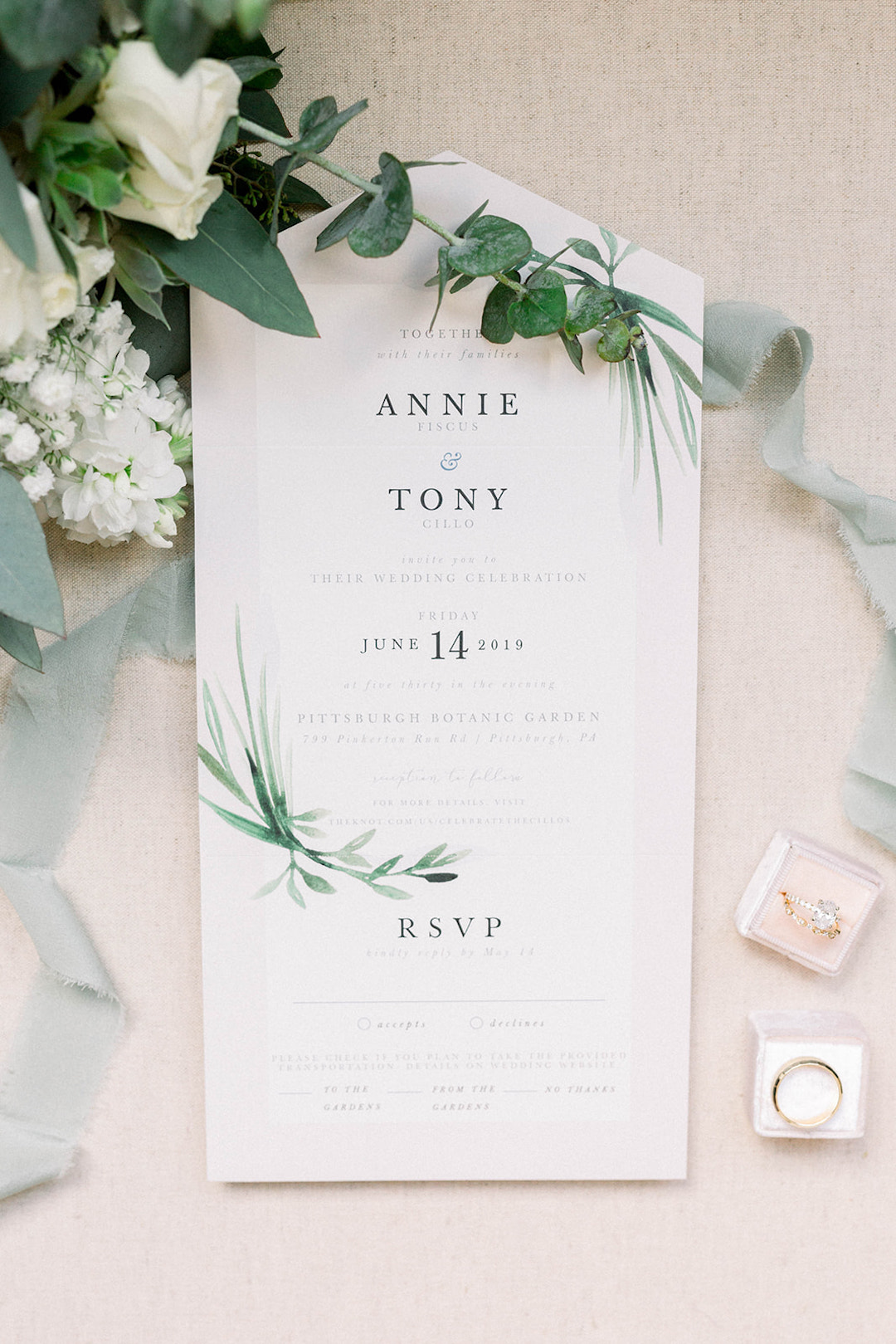 Clean and Crisp Wedding Invitation: Pittsburgh Botanic Garden wedding planned by Exhale Events. See more wedding inspiration at exhale-events.com!