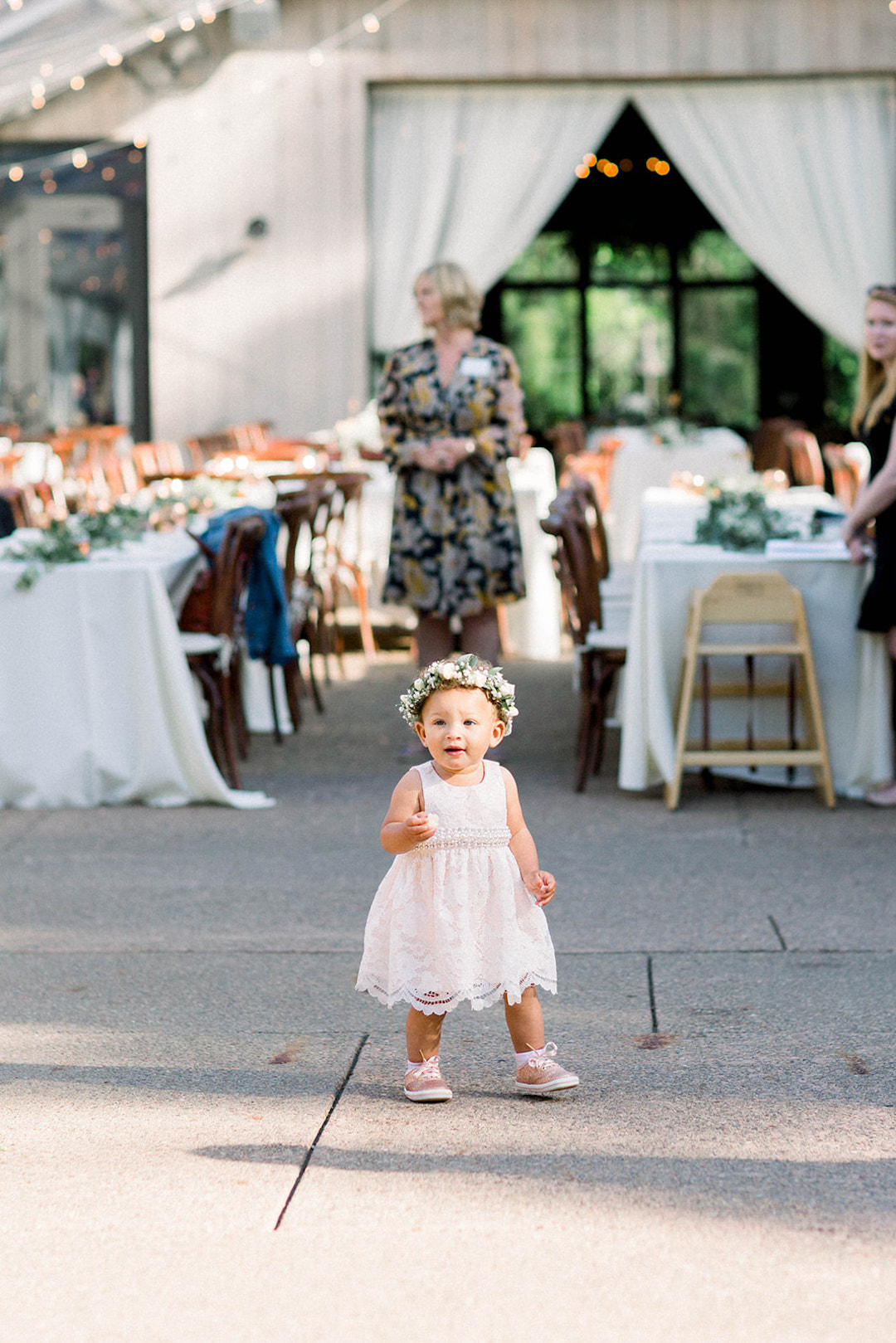 Flower girl dress ideas: Sunset wedding photos:Pittsburgh Botanic Garden wedding planned by Exhale Events. See more wedding inspiration at exhale-events.com!