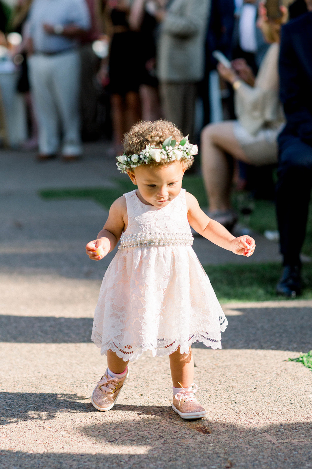 Adorable flower crown for flower girls: Sunset wedding photos:Pittsburgh Botanic Garden wedding planned by Exhale Events. See more wedding inspiration at exhale-events.com!