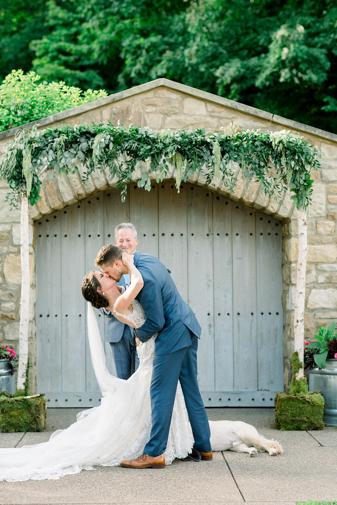 Outdoor ceremony arch idea: Sunset wedding photos:Pittsburgh Botanic Garden wedding planned by Exhale Events. See more wedding inspiration at exhale-events.com!