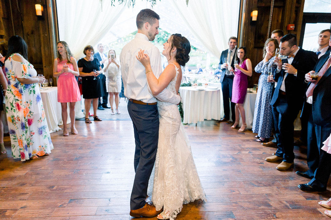Fun first dance ideas: Sunset wedding photos:Pittsburgh Botanic Garden wedding planned by Exhale Events. See more wedding inspiration at exhale-events.com!