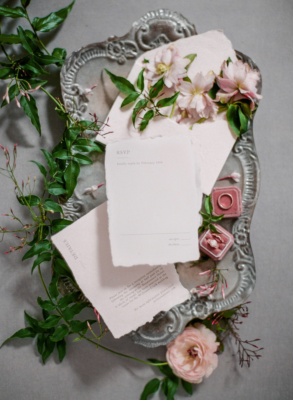 Wedding invitation suite: Soft and Subtle Palettes of Spring Blossoms | Editorial Shoot at The Renaissance Pittsburgh by Exhale Events. See more inspiration at exhale-events.com!