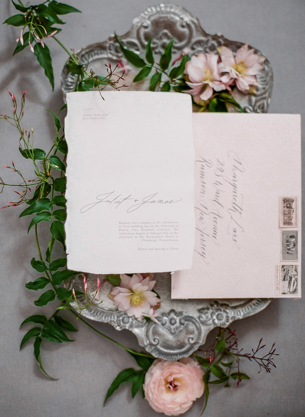 Raw edged wedding stationery design: Soft and Subtle Palettes of Spring Blossoms | Editorial Shoot at The Renaissance Pittsburgh by Exhale Events. See more inspiration at exhale-events.com!