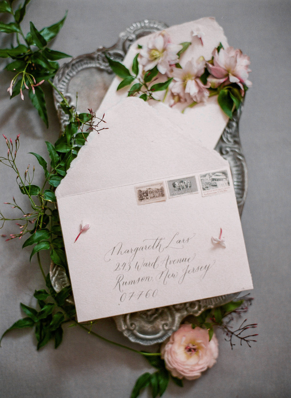 Wedding envelope addressing: Soft and Subtle Palettes of Spring Blossoms | Editorial Shoot at The Renaissance Pittsburgh by Exhale Events. See more inspiration at exhale-events.com!
