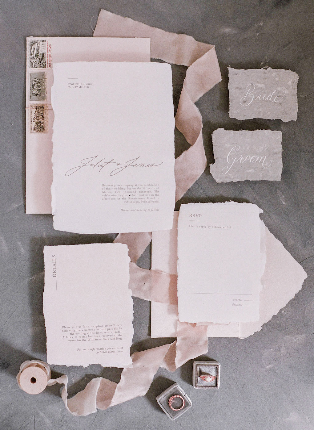 Blush and White Wedding Invitation Suite: Soft and Subtle Palettes of Spring Blossoms | Editorial Shoot at The Renaissance Pittsburgh by Exhale Events. See more inspiration at exhale-events.com!