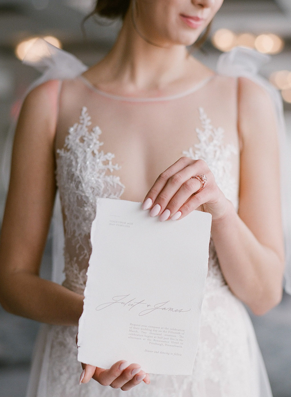 Photo ideas for wedding invites: Soft and Subtle Palettes of Spring Blossoms | Editorial Shoot at The Renaissance Pittsburgh by Exhale Events. See more inspiration at exhale-events.com!