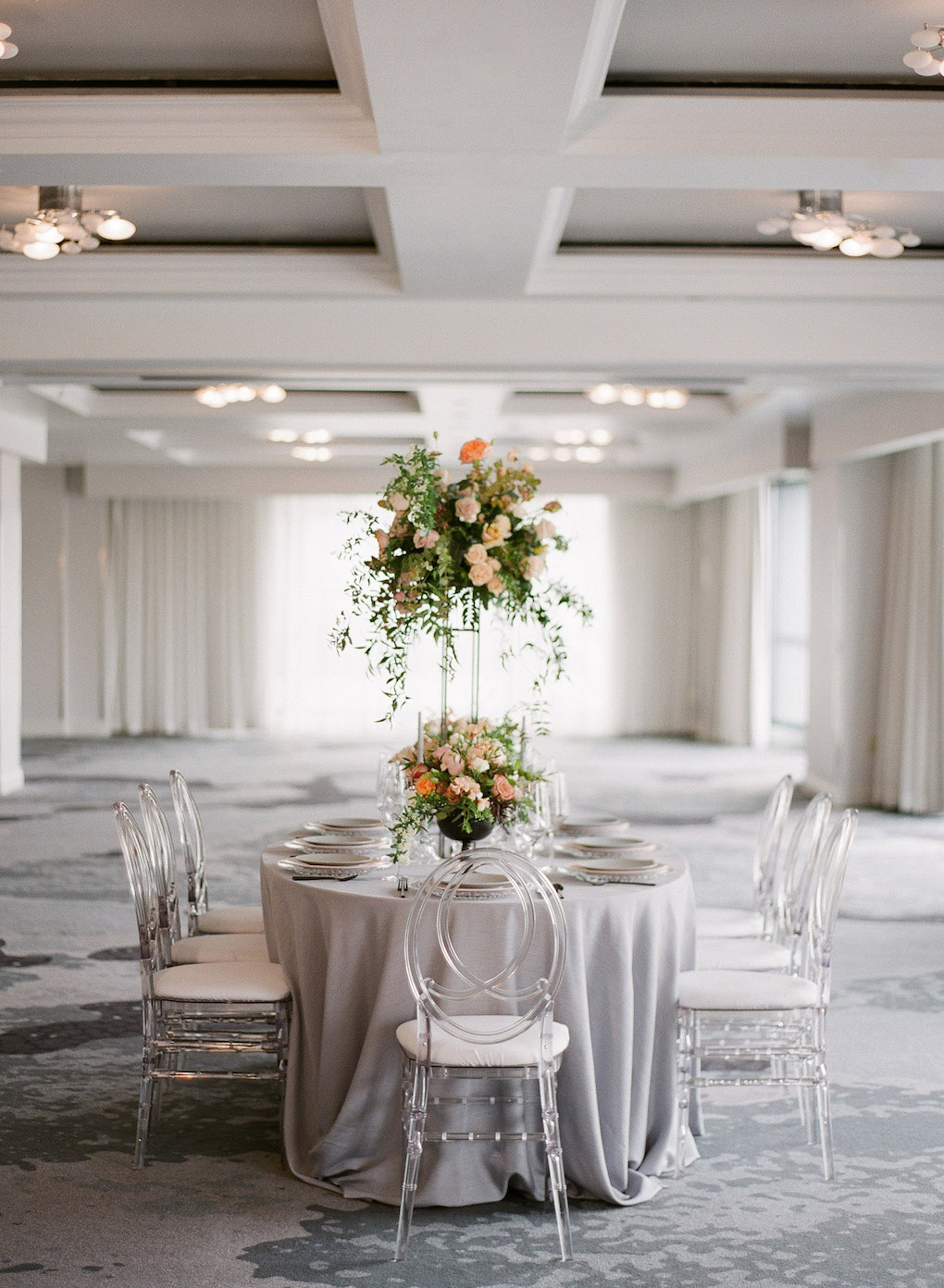 Soft grey wedding palette: Soft and Subtle Palettes of Spring Blossoms | Editorial Shoot at The Renaissance Pittsburgh by Exhale Events. See more inspiration at exhale-events.com!