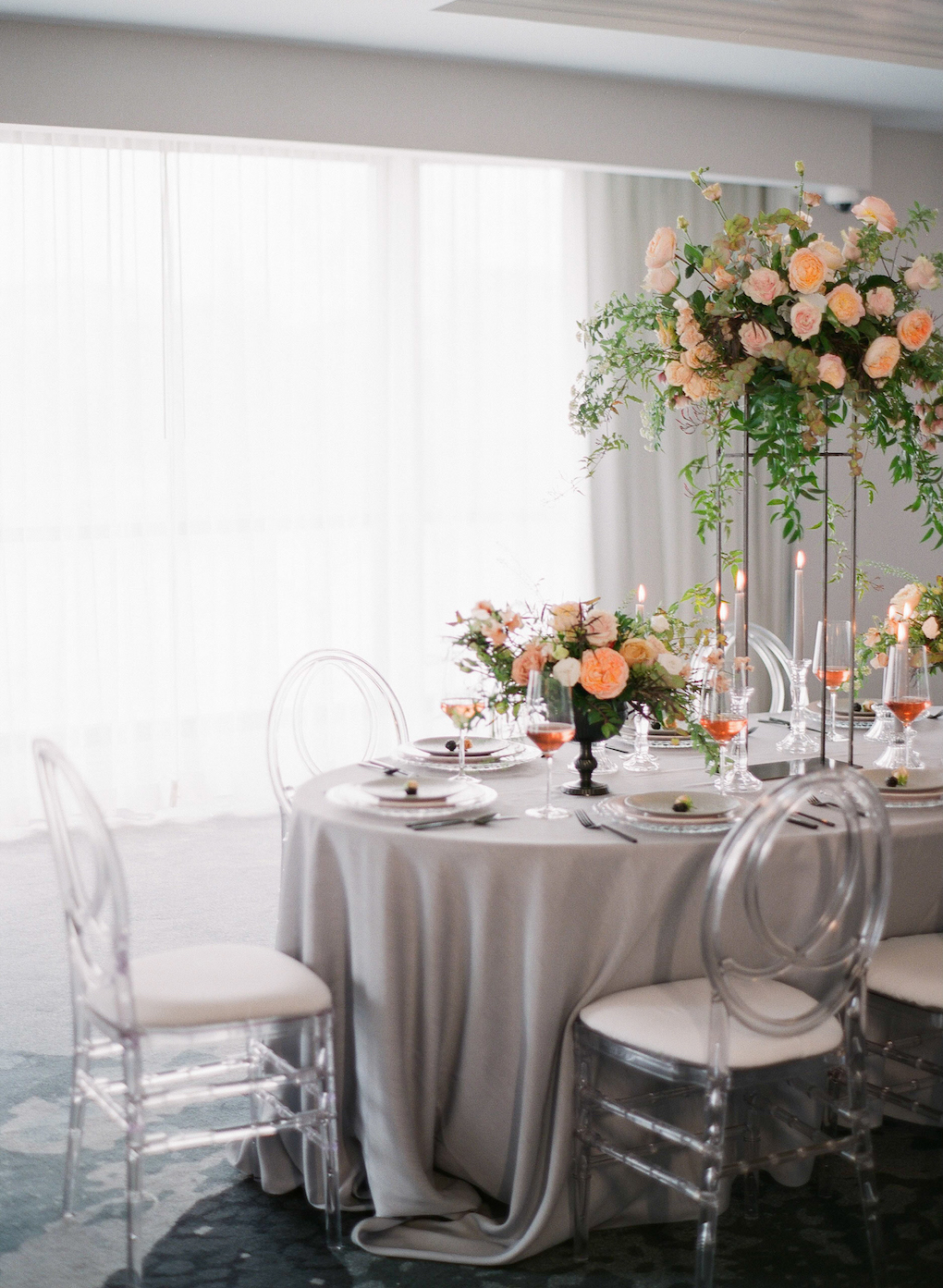 Grey and Pink Wedding Design: Soft and Subtle Palettes of Spring Blossoms | Editorial Shoot at The Renaissance Pittsburgh by Exhale Events. See more inspiration at exhale-events.com!
