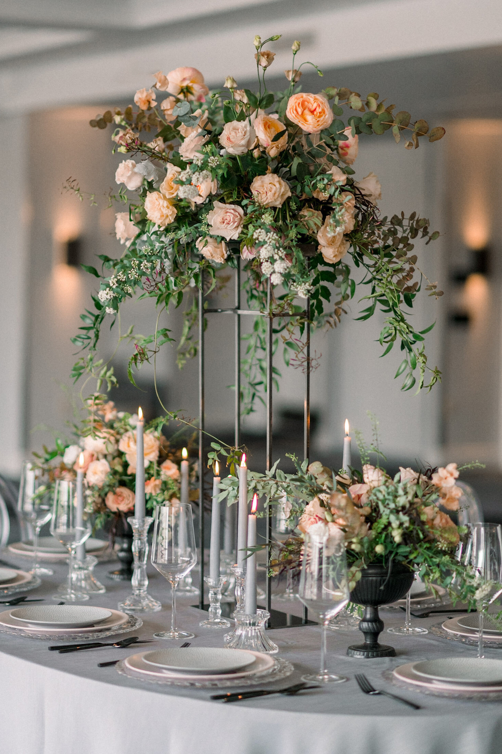 Wedding tablescape ideas in pink and grey: Soft and Subtle Palettes of Spring Blossoms | Editorial Shoot at The Renaissance Pittsburgh by Exhale Events. See more inspiration at exhale-events.com!