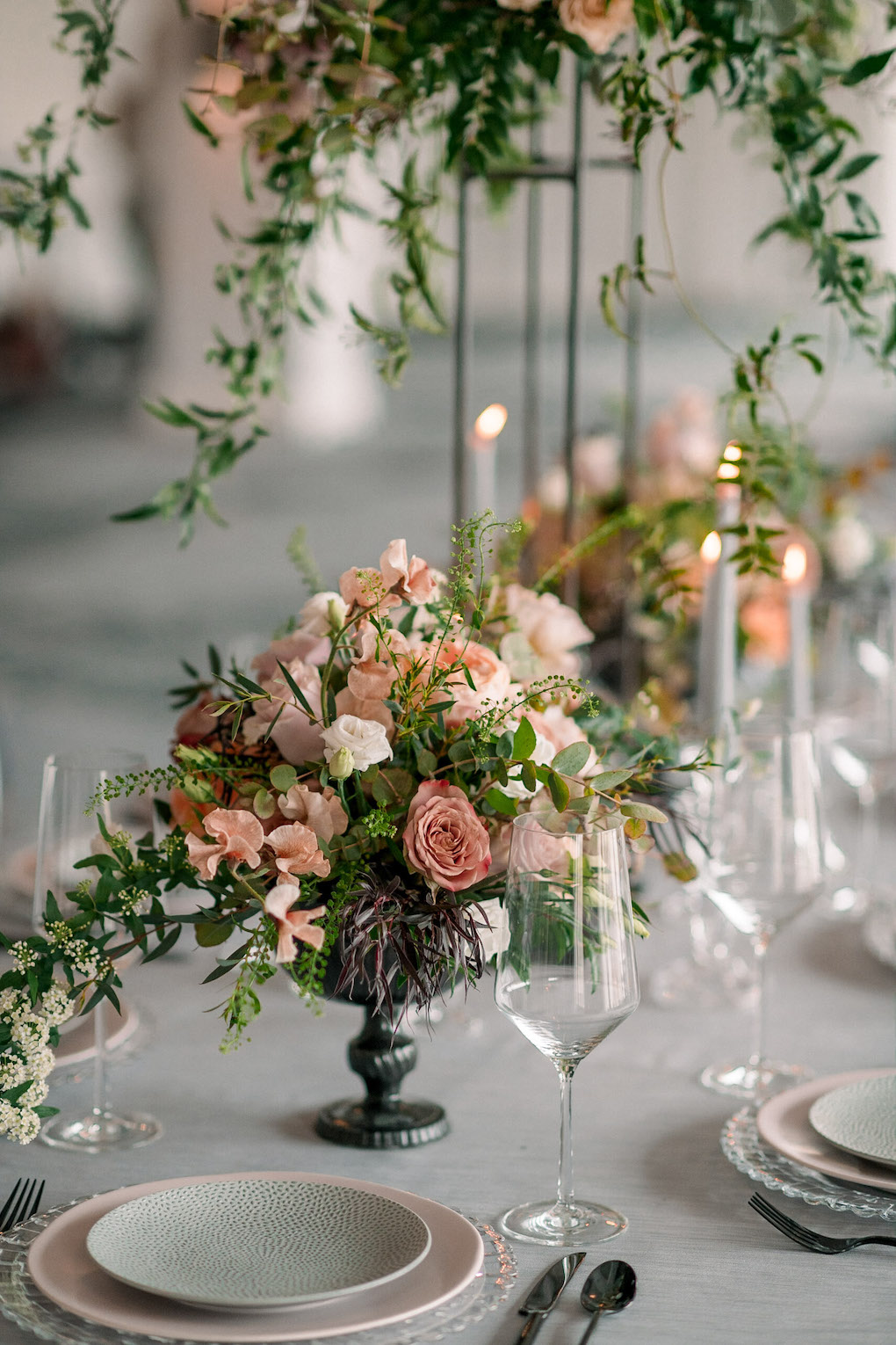 Modern Table Setting: Soft and Subtle Palettes of Spring Blossoms | Editorial Shoot at The Renaissance Pittsburgh by Exhale Events. See more inspiration at exhale-events.com!