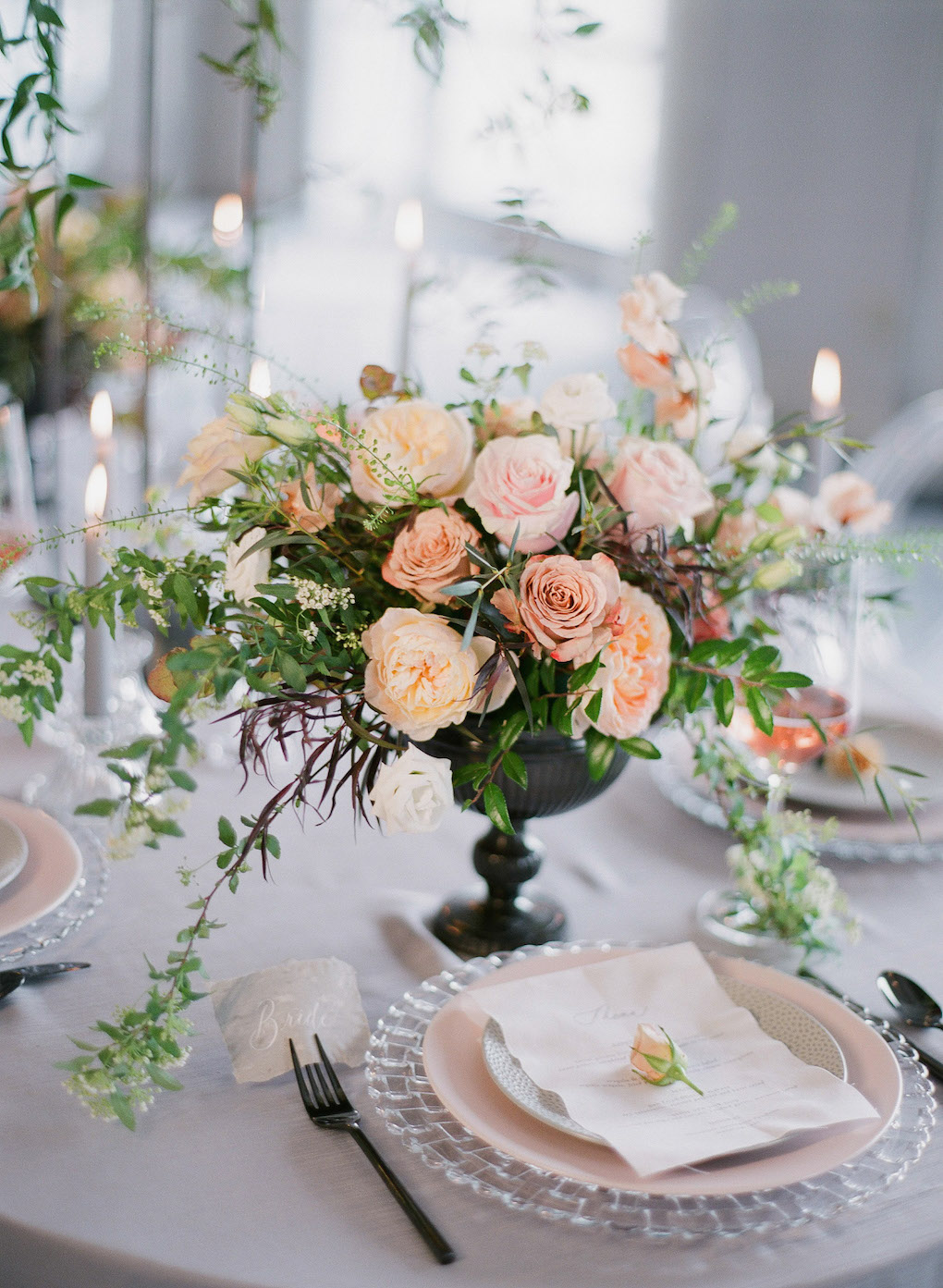 Lush and Romantic Tablescape: Soft and Subtle Palettes of Spring Blossoms | Editorial Shoot at The Renaissance Pittsburgh by Exhale Events. See more inspiration at exhale-events.com!