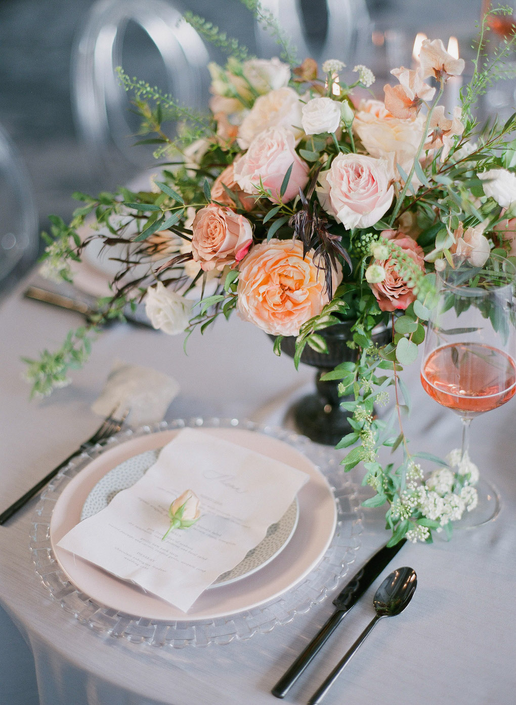 Rose and Grey Wedding Color Palette: Soft and Subtle Palettes of Spring Blossoms | Editorial Shoot at The Renaissance Pittsburgh by Exhale Events. See more inspiration at exhale-events.com!