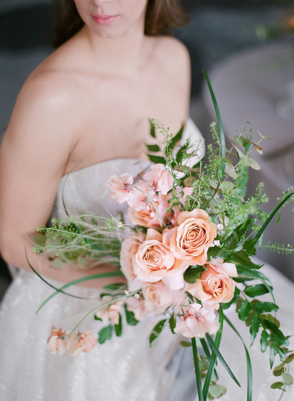 Soft Pink and Textured Bridal Bouquet: Soft and Subtle Palettes of Spring Blossoms | Editorial Shoot at The Renaissance Pittsburgh by Exhale Events. See more inspiration at exhale-events.com!