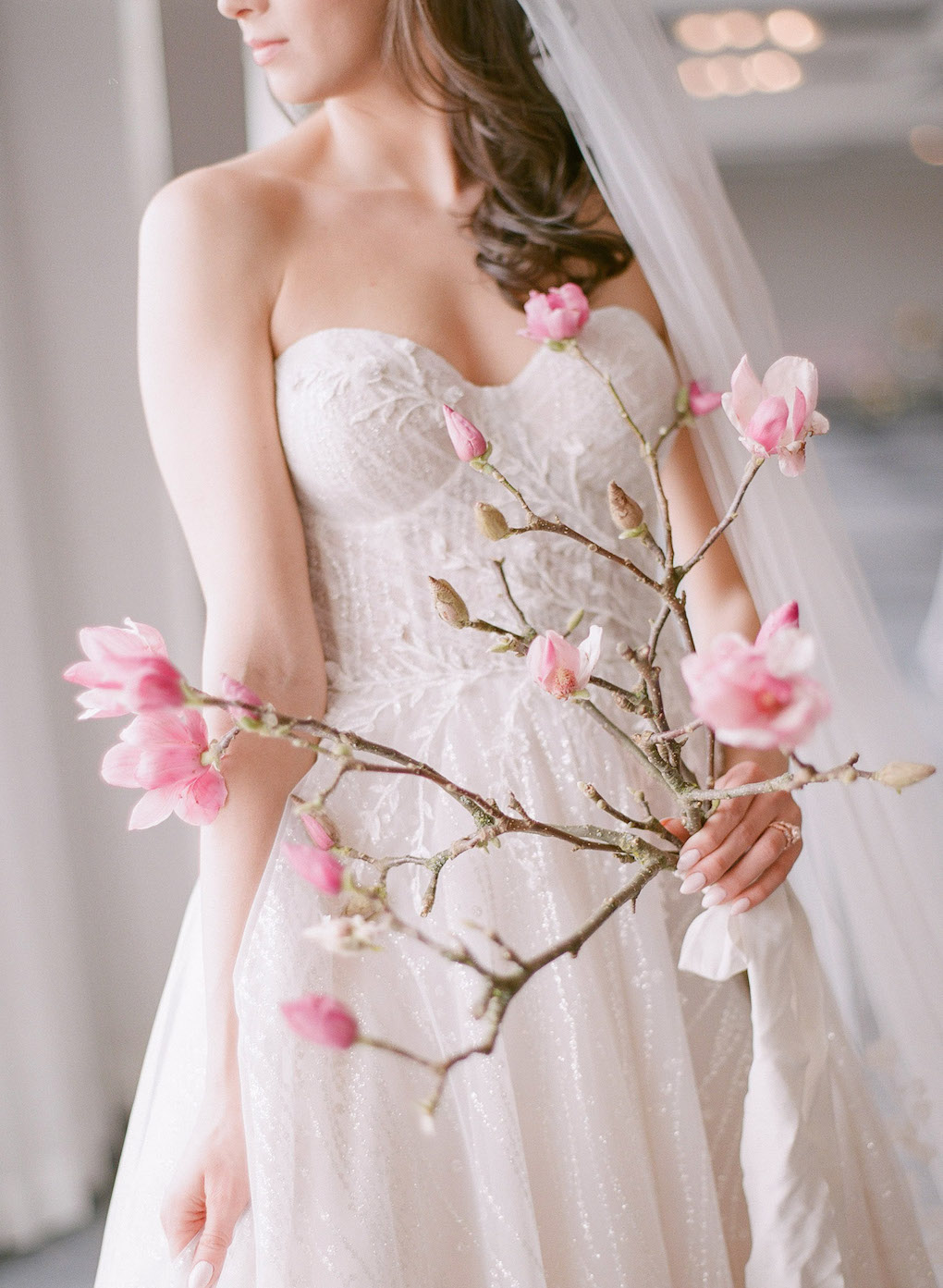 Simple Wedding Bouquet:  Soft and Subtle Palettes of Spring Blossoms | Editorial Shoot at The Renaissance Pittsburgh by Exhale Events. See more inspiration at exhale-events.com!
