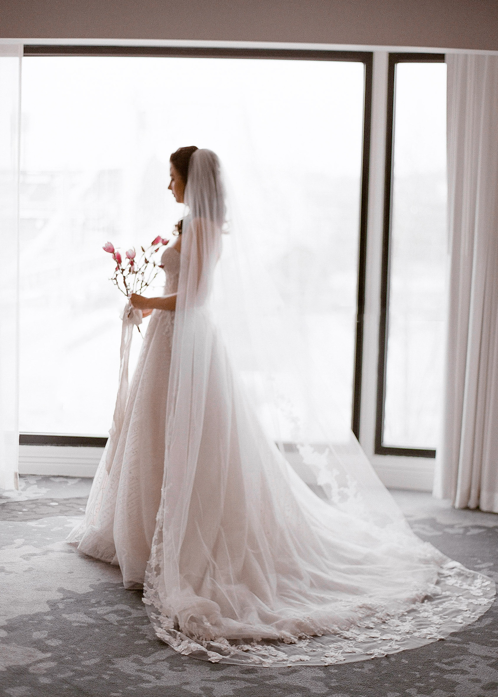 Bridal Portrait Ideas for hotel: Soft and Subtle Palettes of Spring Blossoms | Editorial Shoot at The Renaissance Pittsburgh by Exhale Events. See more inspiration at exhale-events.com!