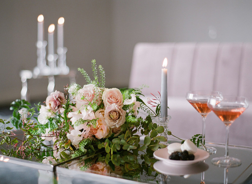 Romantic Wedding Lounge: Soft and Subtle Palettes of Spring Blossoms | Editorial Shoot at The Renaissance Pittsburgh by Exhale Events. See more inspiration at exhale-events.com!
