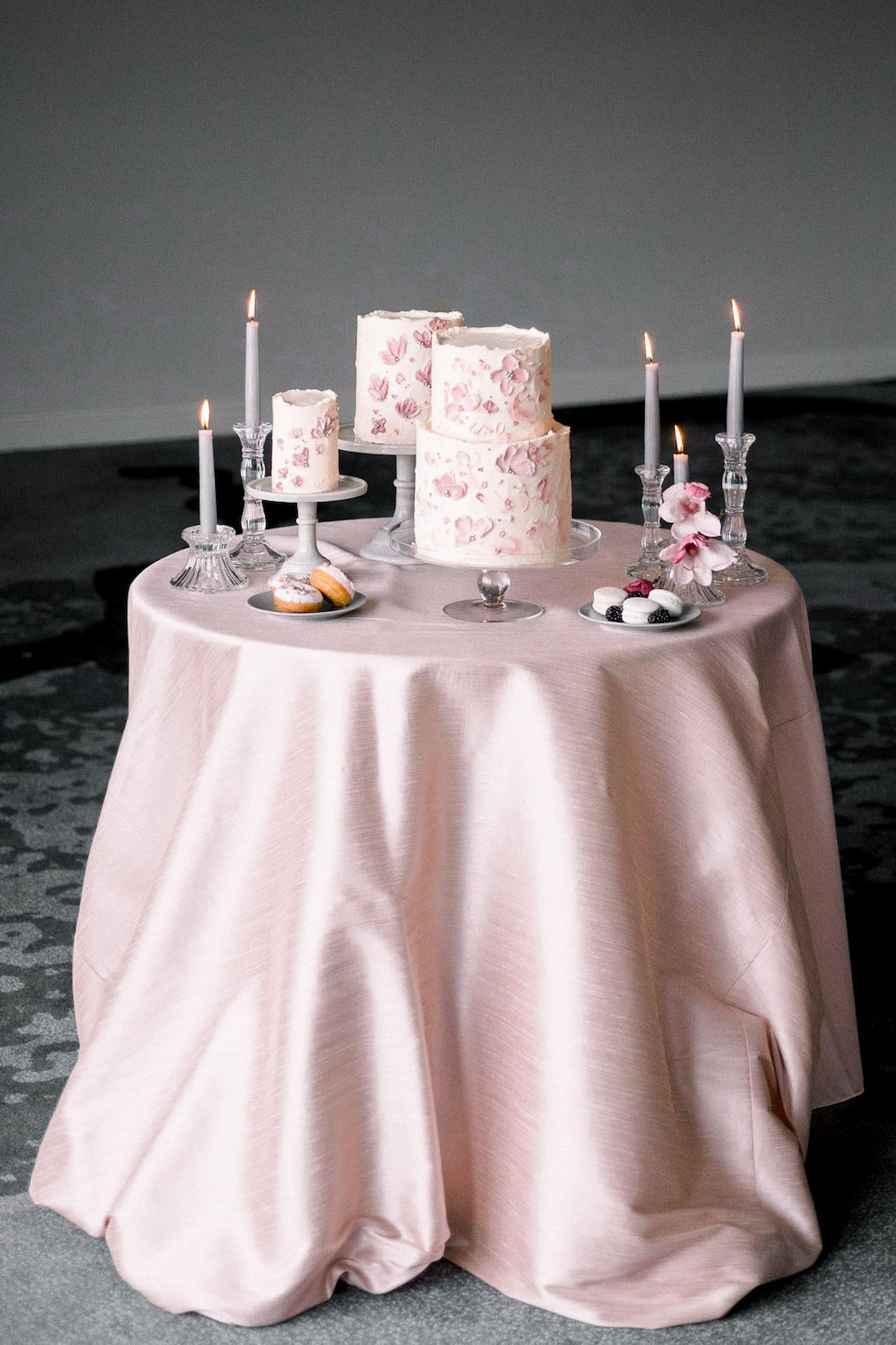 Multiple Wedding Cake Display: Soft and Subtle Palettes of Spring Blossoms | Editorial Shoot at The Renaissance Pittsburgh by Exhale Events. See more inspiration at exhale-events.com!