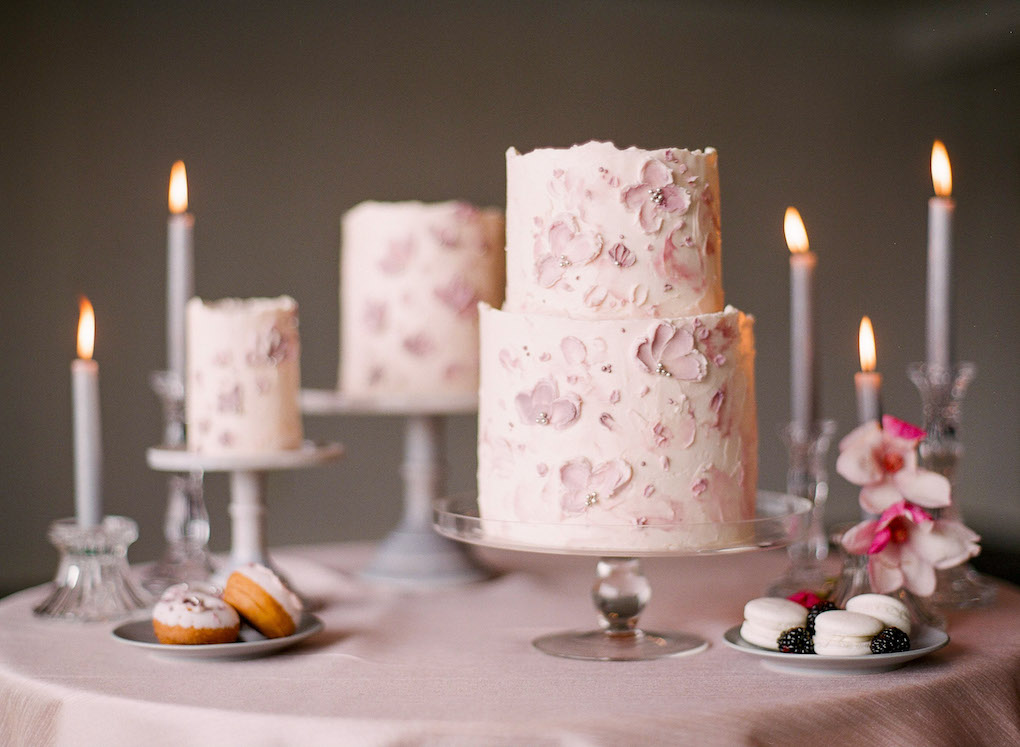 Hand painted wedding cake design: Soft and Subtle Palettes of Spring Blossoms | Editorial Shoot at The Renaissance Pittsburgh by Exhale Events. See more inspiration at exhale-events.com!