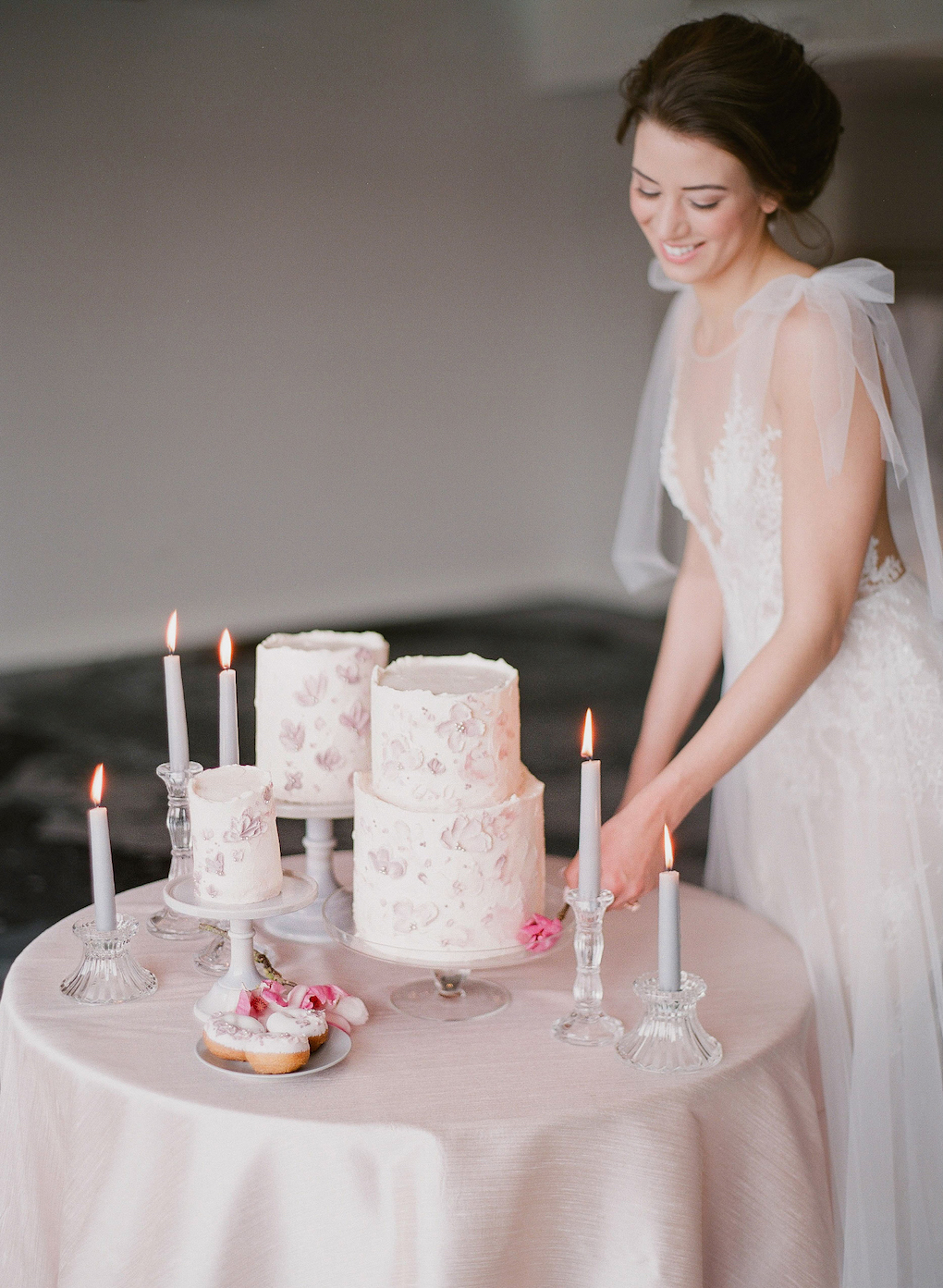 Cake Table Ideas for Your Wedding: Soft and Subtle Palettes of Spring Blossoms | Editorial Shoot at The Renaissance Pittsburgh by Exhale Events. See more inspiration at exhale-events.com!