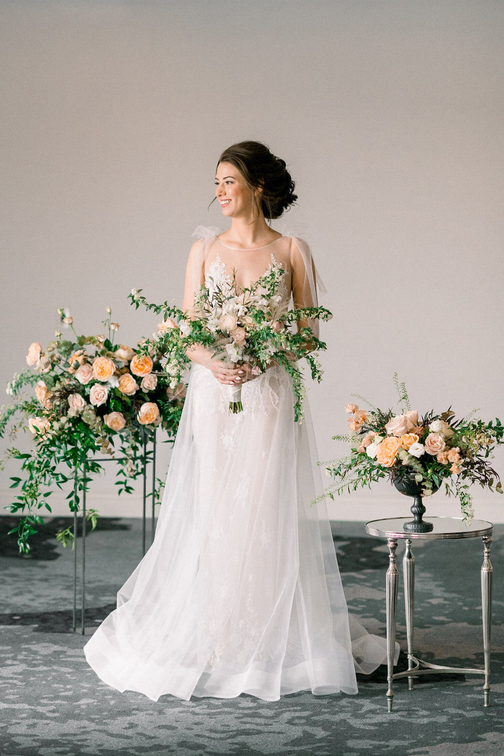 Indoor bridal photos: Soft and Subtle Palettes of Spring Blossoms | Editorial Shoot at The Renaissance Pittsburgh by Exhale Events. See more inspiration at exhale-events.com!