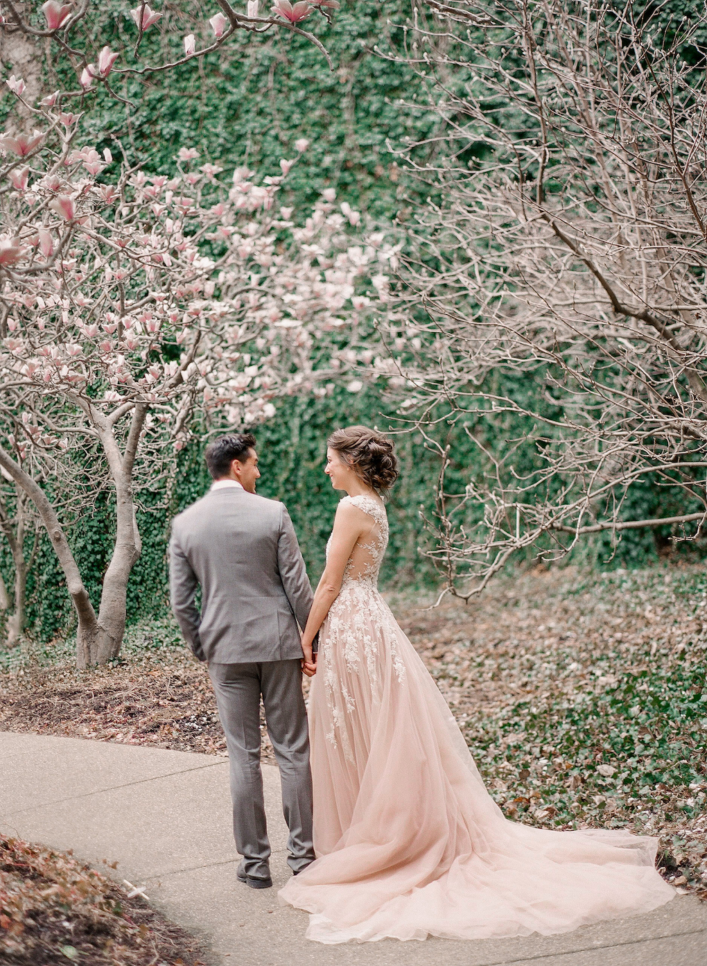 Blush wedding dress: Soft and Subtle Palettes of Spring Blossoms | Editorial Shoot at The Renaissance Pittsburgh by Exhale Events. See more inspiration at exhale-events.com!