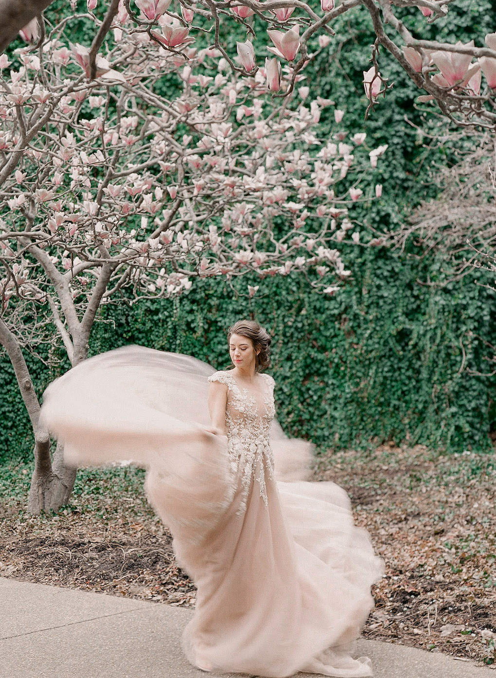 How to photograph your wedding dress: Soft and Subtle Palettes of Spring Blossoms | Editorial Shoot at The Renaissance Pittsburgh by Exhale Events. See more inspiration at exhale-events.com!