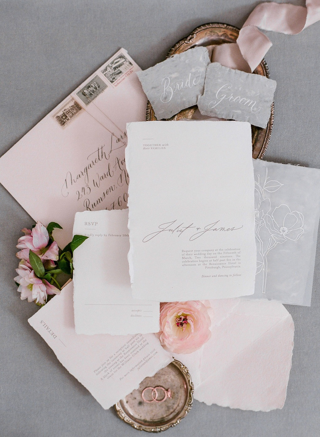 Fine Art Wedding Stationary: Soft and Subtle Palettes of Spring Blossoms | Editorial Shoot at The Renaissance Pittsburgh by Exhale Events. See more inspiration at exhale-events.com!