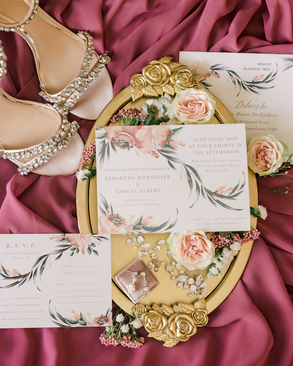 Pink floral wedding invitations: Romantic Delicate Summer Wedding in PIttsburgh planned by Exhale Events. See more at exhale-events.com!