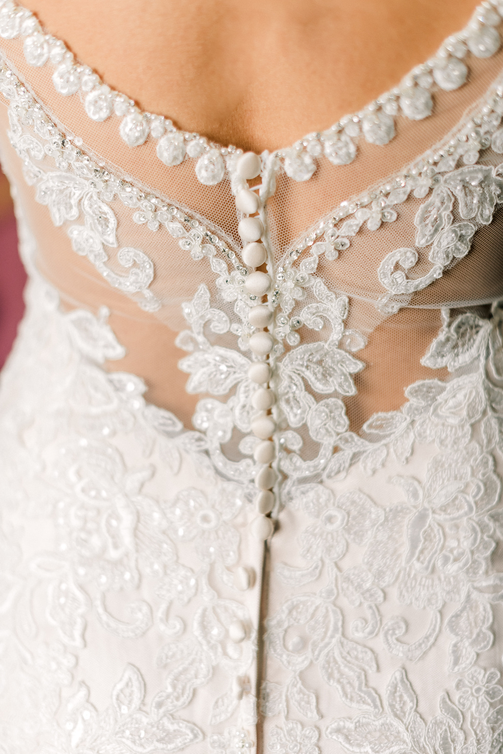 Gorgeous lace detailed back wedding dress: Romantic Delicate Summer Wedding in Pittsburgh planned by Exhale Events. See more at exhale-events.com!