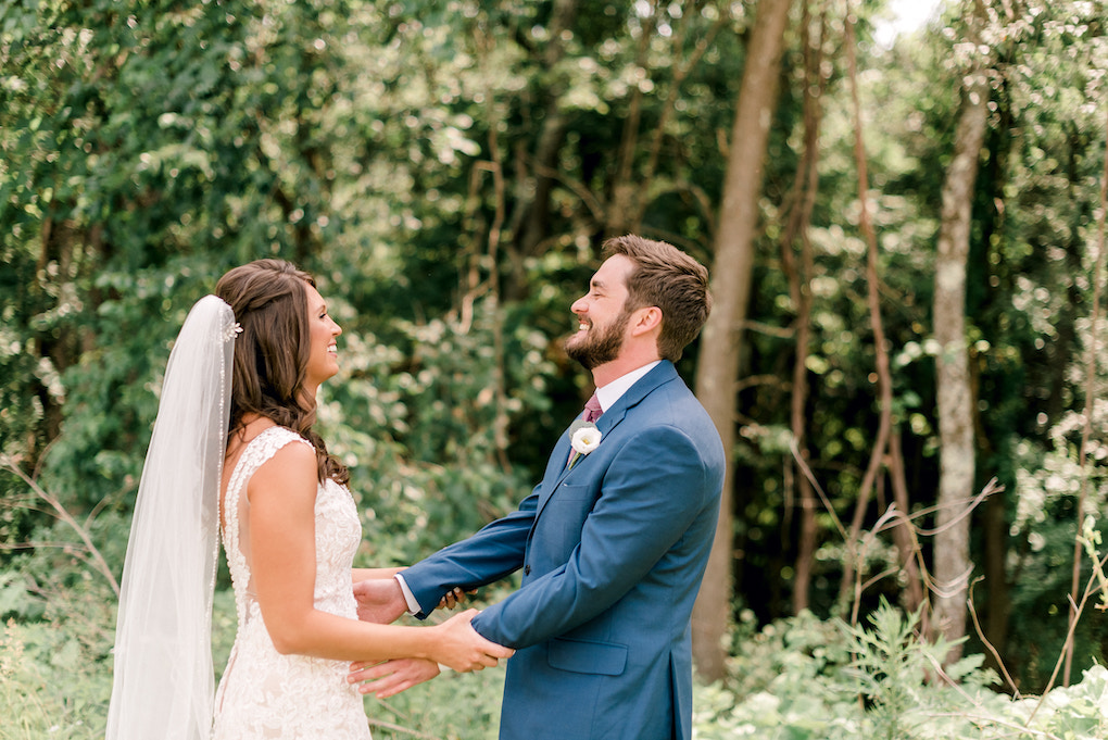 Adorable first look moment between bride and groom: Romantic Delicate Summer Wedding in Pittsburgh planned by Exhale Events. See more at exhale-events.com!