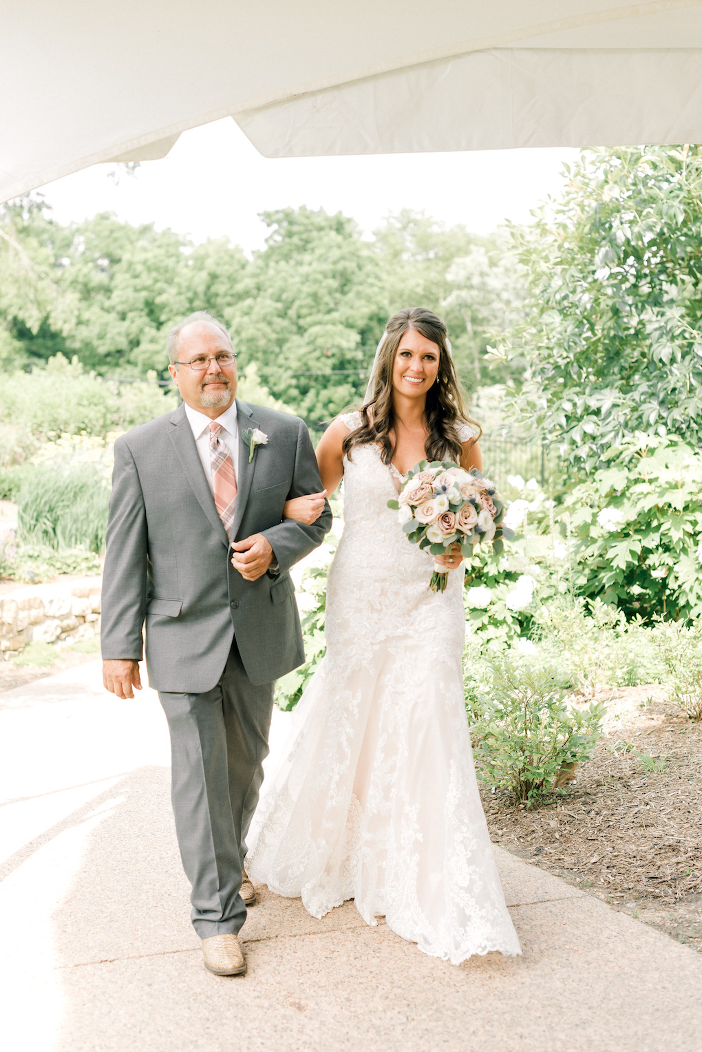 Bride and Father in Grey Suit: Romantic Delicate Summer Wedding in Pittsburgh planned by Exhale Events. See more at exhale-events.com!