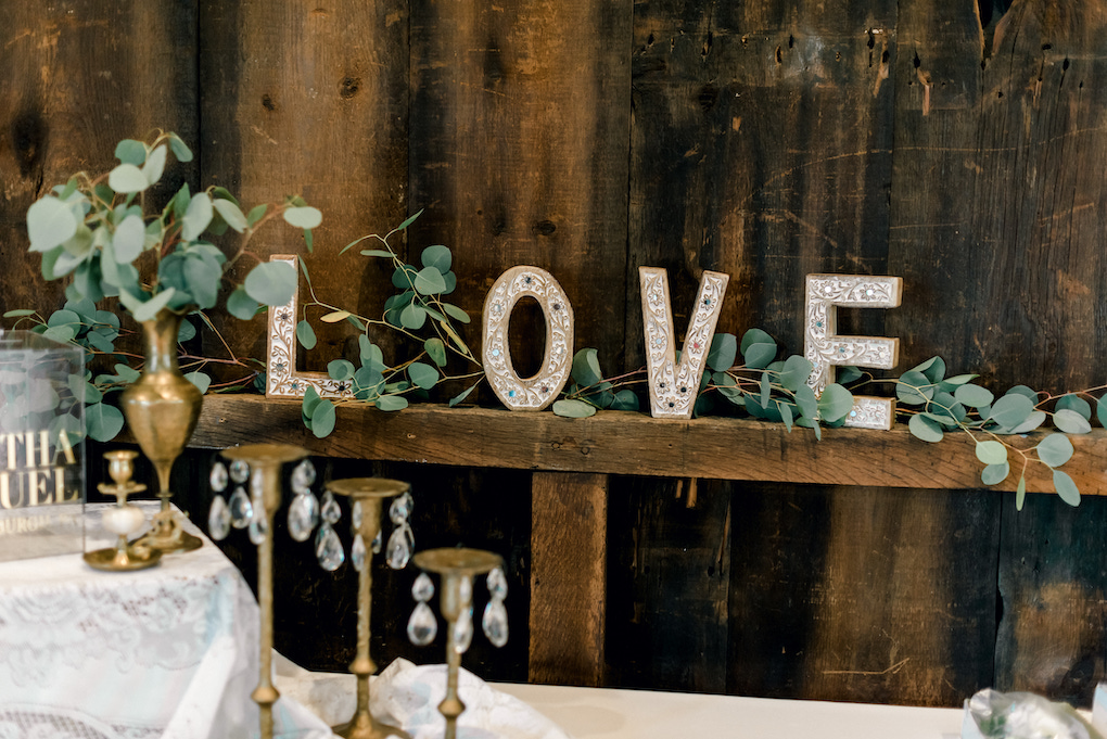 Rustic Love Sign for Barn Wedding: Romantic Delicate Summer Wedding in Pittsburgh planned by Exhale Events. See more at exhale-events.com!