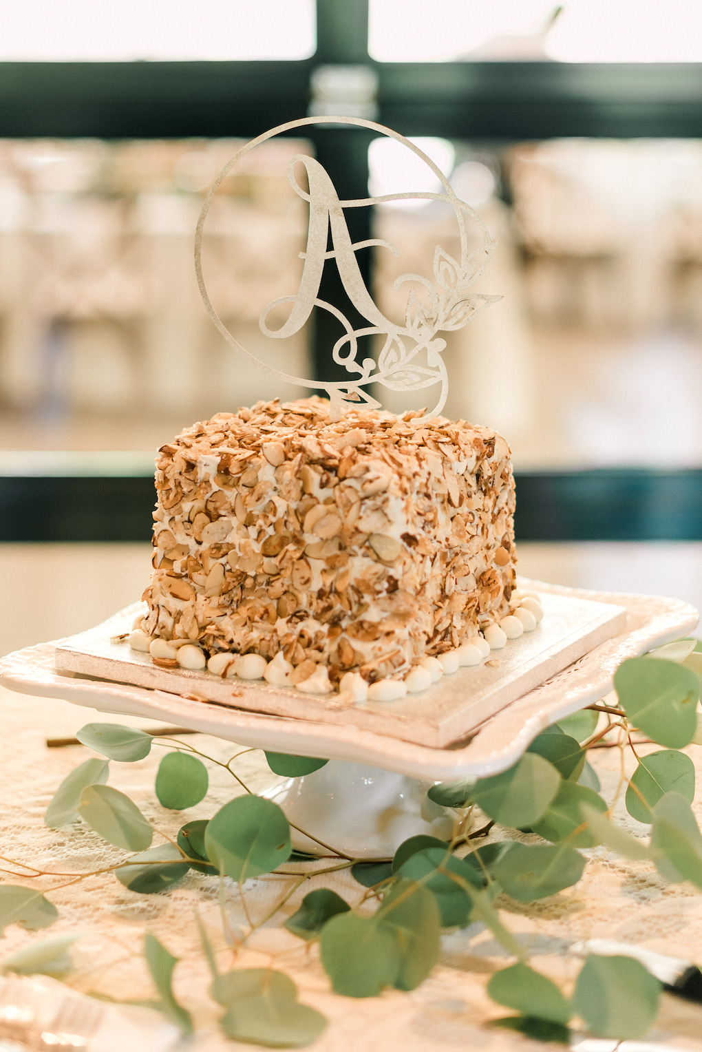 Burnt Almond Torte Wedding Cake: Romantic Delicate Summer Wedding in Pittsburgh planned by Exhale Events. See more at exhale-events.com!