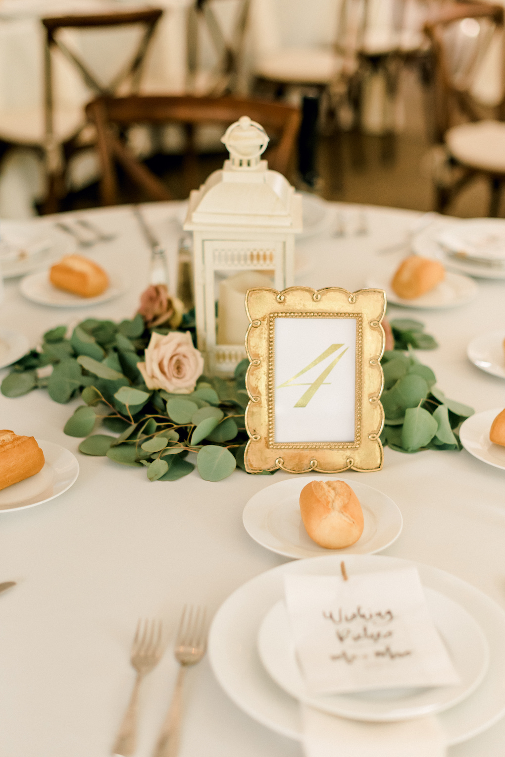 Gold and White Centerpieces with Greenery: Romantic Delicate Summer Wedding in Pittsburgh planned by Exhale Events. See more at exhale-events.com!