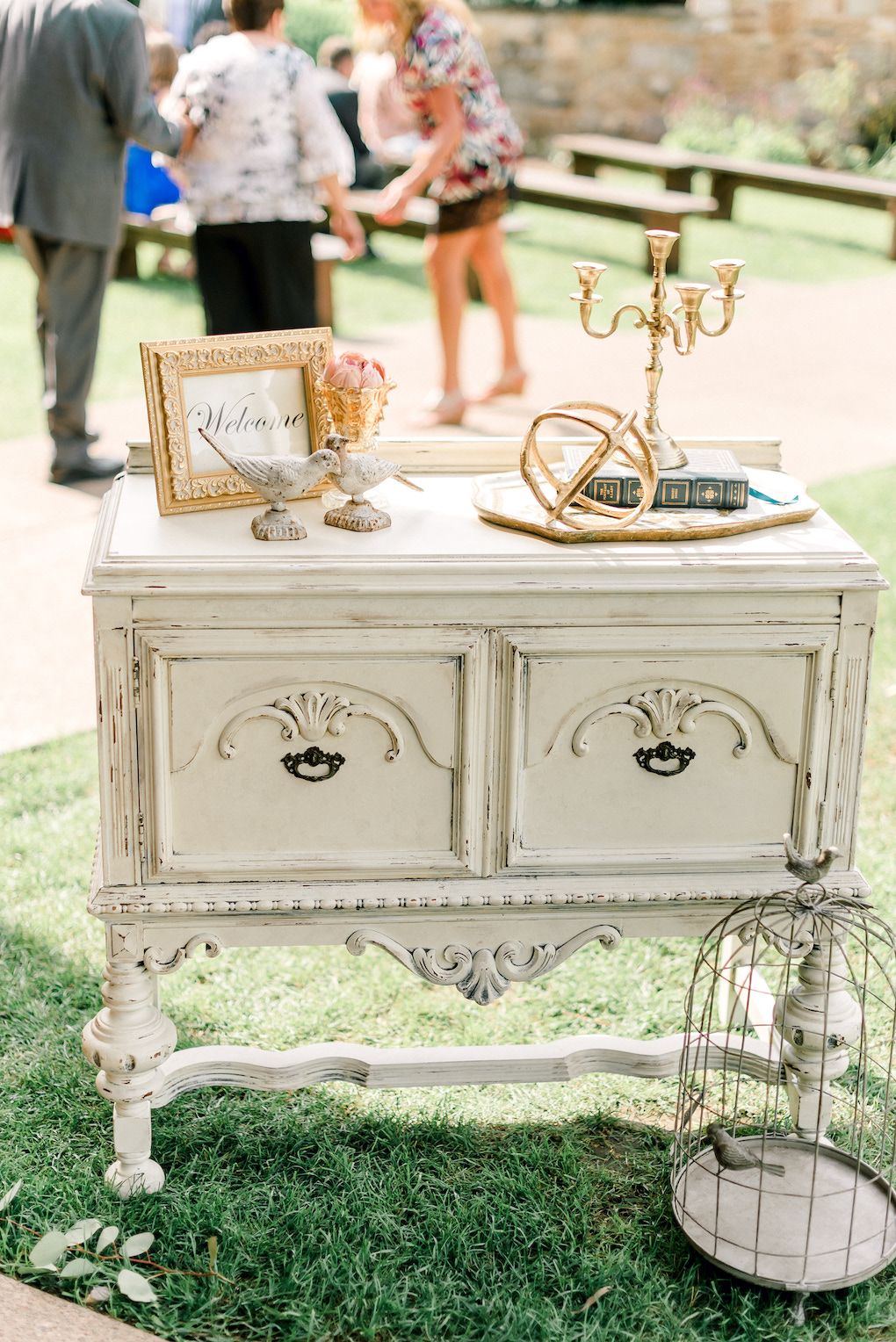 Vintage Welcome Table for Wedding Ceremony: Romantic Delicate Summer Wedding in Pittsburgh planned by Exhale Events. See more at exhale-events.com!