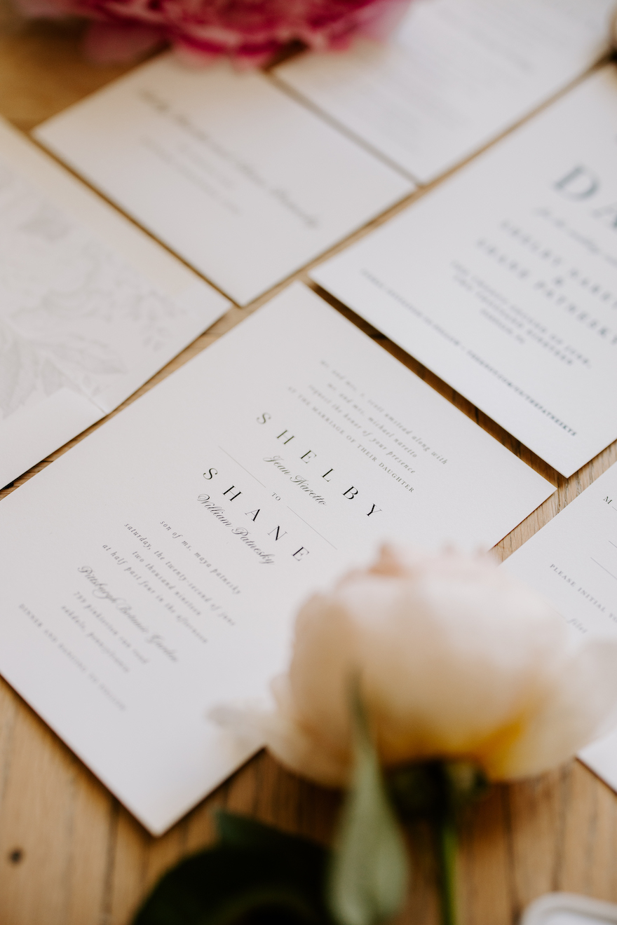 Simple wedding invitations: Elegant and Classic Garden Wedding planned by Exhale Events. See more at exhale-events.com!